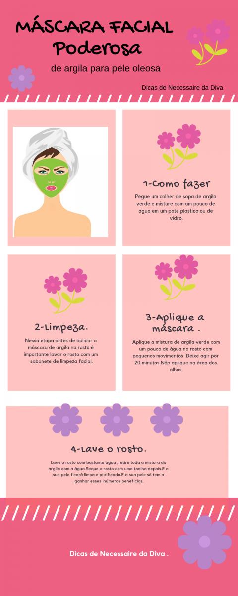 Máscara facial poderosa para pele oleosa.